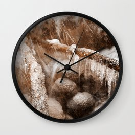 Frozen Harp Falls - Sepia Nostalgia Wall Clock