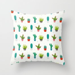 Colorful cactus succulent plant flower nature pattern Throw Pillow