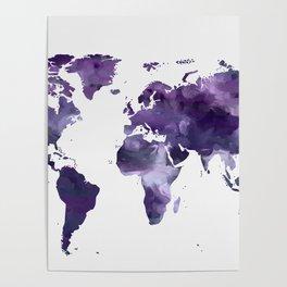 Purple World Map Poster