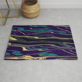 Stylish gold abstract marbleized paint image Rug
