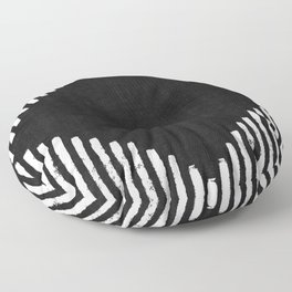 Diamond Stripe Geometric Block Print in Black and White Floor Pillow