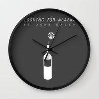 looking for alaska Wall Clocks featuring looking for alaska by Sarah Turbin