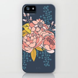 Moody Florals - Blue + Pink iPhone Case