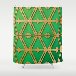 Mid Green & Bronzed Gold Fretwork Shower Curtain