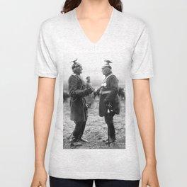strange early 1900s German Generals in wild uniforms original period postcard Unisex V-Neck