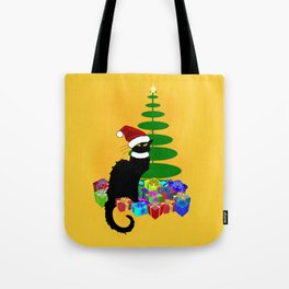 Christmas Le Chat Noir With Santa Hat Tote Bag