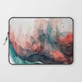 Watercolor dark green & red, abstract texture Laptop Sleeve