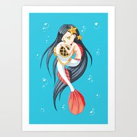 the little mermaid Art Prints featuring Mermaid by Freeminds