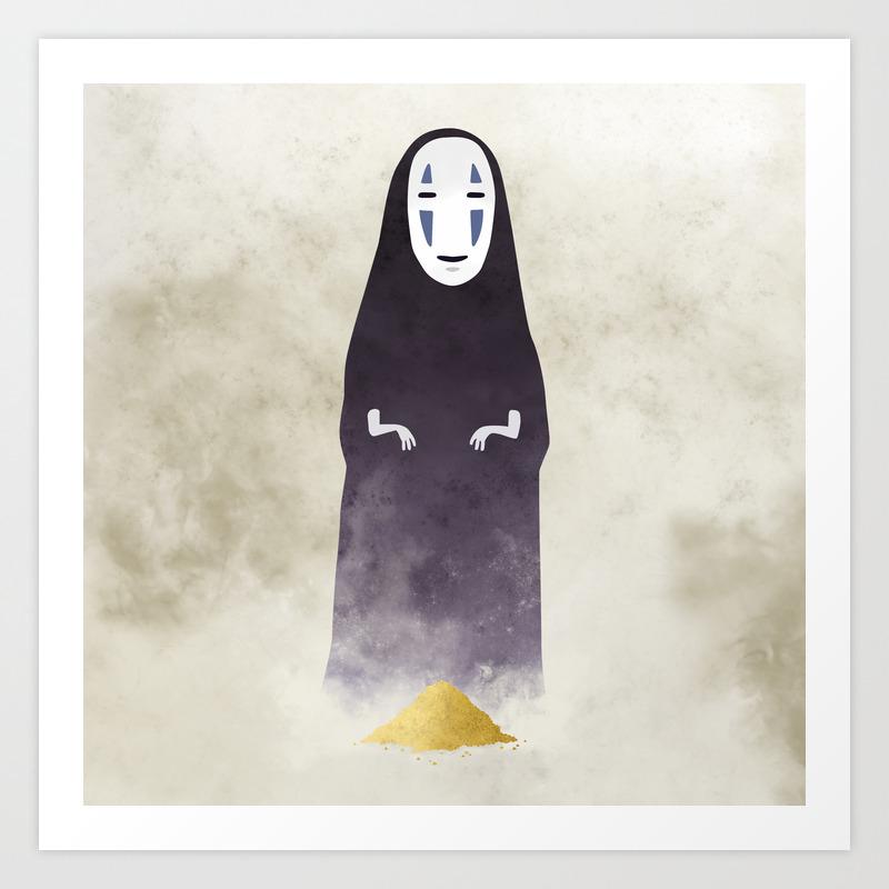 Spirited Away No Face Illustration Miyazaki Studio Ghibli Art Print By Lizasou Society6