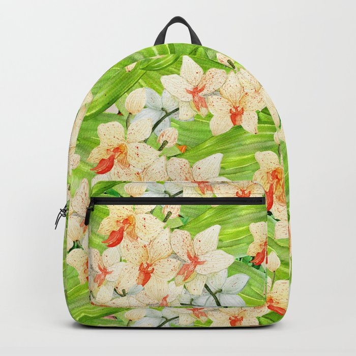 Tropical Floral Orchid Flower Pattern - Flowers on #Society6 Backpack
