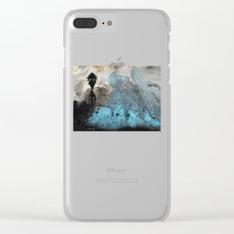 Palm View Grunge Clear iPhone Case
