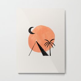 Minimalist Abstract Ink Collage Ancient Egypt Pyramids Tan Circle Desert Landscape by Ejaaz Haniff Metal Print