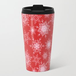 Christmas pattern with snowflakes on red. Travel Mug