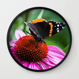 Red Admiral Butterfly Wall Clock