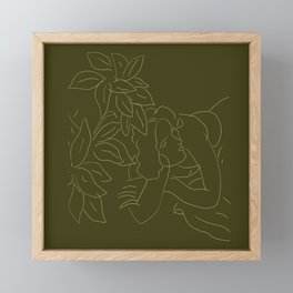 Matisse Line Art #5 Green Framed Mini Art Print