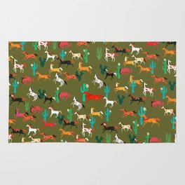 wild horses and flowers pattern Rug