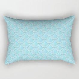 Cyan Mermaid Scales Rectangular Pillow