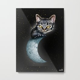 CAT ON THE MOON Metal Print