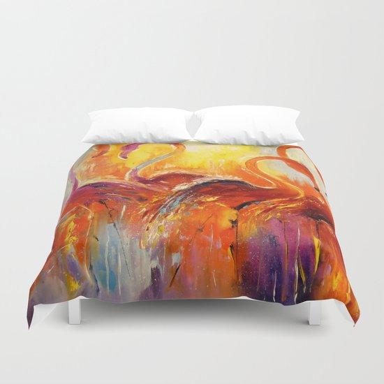 Graceful flamingos Duvet Cover