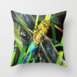 Blue Dragonfly Wings Throw Pillow