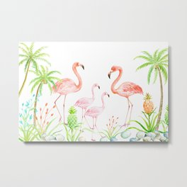 Watercolor flamingo family art print Metal Print