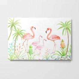 Watercolor flamingo family art print Metal Print