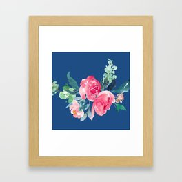 Blue and Pink Peony Watercolor Framed Art Print