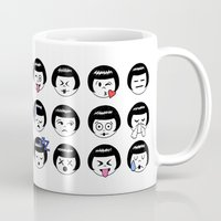 emoji Mugs featuring flapper doodle emoji by kate gabrielle