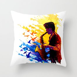 Colorful music player with flying birds.Musician portrait, saxophonist performance Throw Pillow