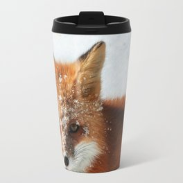 Snowy Faced Cheeky Fox with Tongue Out Travel Mug
