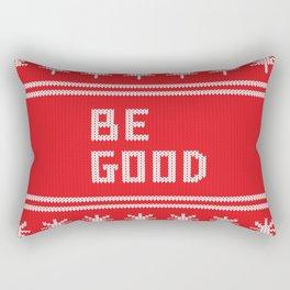 Be Good Festive Knit Typography Rectangular Pillow
