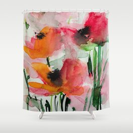 red flowers in the garden Shower Curtain