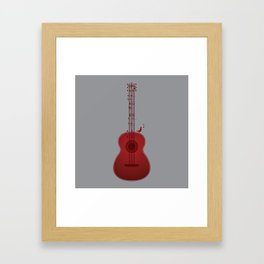Classical Notation - Cherry Red Framed Art Print