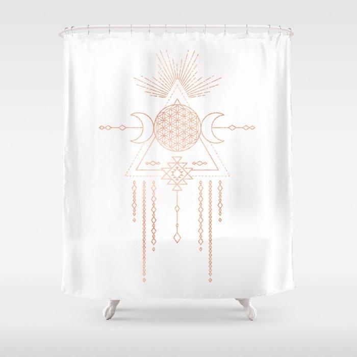 Mandala Flower Of Life Moon Pink Rose Gold Shower Curtain