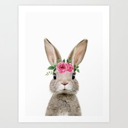 Baby Rabbit with Flower Crown Art Print