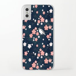 Navy blue cherry blossom finch Clear iPhone Case