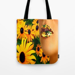 Lips in sunflowers Tote Bag