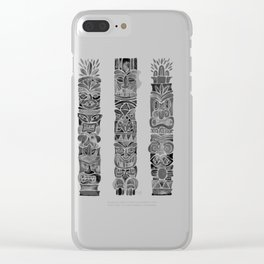 Tiki Totems – Black Clear iPhone Case