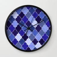 morocco Wall Clocks featuring Morocco Blue by Jacqueline Maldonado