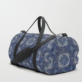 Vintage blue ceramic tiles pattern Duffle Bag