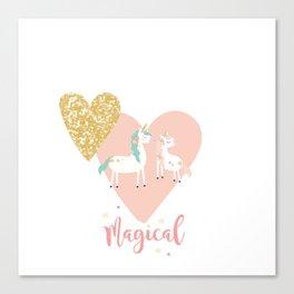 Magical Unicorn Valentine Couple Canvas Print