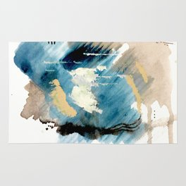 You are an Ocean - abstract India Ink & Acrylic in blue, gray, brown, black and white Rug
