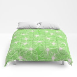 02 White Flowers on Green Comforters