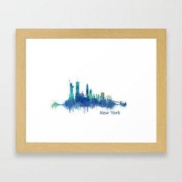 New York City Skyline Hq v06 cityscape Framed Art Print