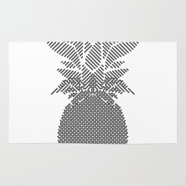 Black and White Pattern Pineapple Artwork Rug