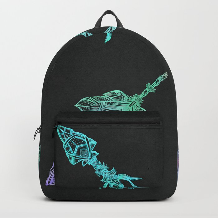 Tribals Arrows Turquoise on Gray Black Backpack