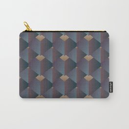 Industrial Urban Geometric Pattern in Steel Blue Gray & Brown Carry-All Pouch