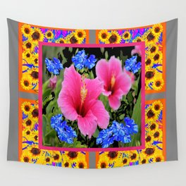 GREY PINK TROPICAL HIBISCUS BLUE-YELLOW FLOWERS Wall Tapestry