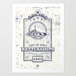 US Navy Vintage Badge Art Print