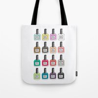 nail polish Tote Bags featuring Nail Polish-holic by uzualsunday